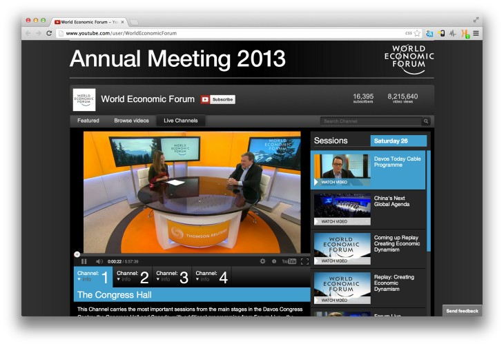 wef youtube 730x502 How a social media news stream turns the sealed off World Economic Forum into a virtual event