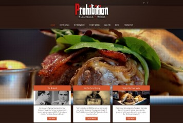 Prohibition Burgers Web Design